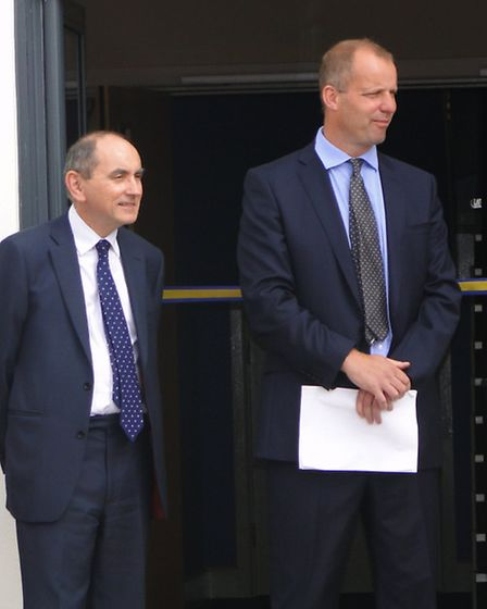 Chulmleigh Community College principal Michael Johnson (right) and Education Funding Agency chief ex