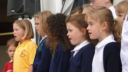 Pupils from the Rock Choir perform before the opening of the new classrooms at Chulmleigh Community