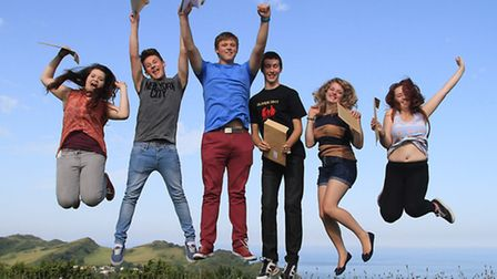 Ilfracombe Academy students jumping for joy with their GCSE results