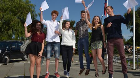 A group of high-achieving Pilton students rejoice at their results