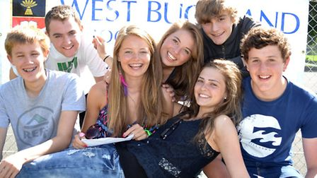 A happy group of West Buckland students, where grades were remarkably good
