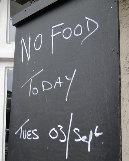 No food today: The sign outside The Royal Marine Hotel in Combe Martin on Tuesday.