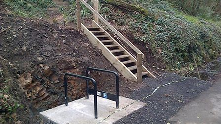The new access steps and bike loops at Beam.