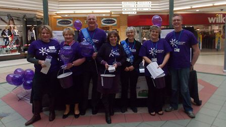Chemotherapy volunteers with the Fundraising Team in Green Lane Shopping Centre, Barnstaple.