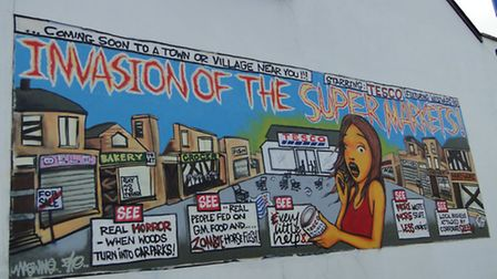 The mural stood in the village car park for several weeks.