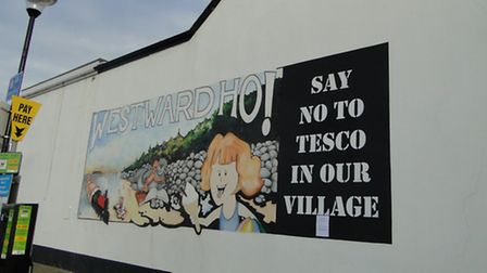 The original mural, with the 'Say No to Tesco' addition last month.