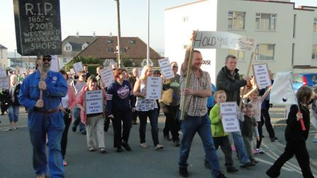 Protesters gathered in Westward Ho! to oppose plans for a new Tesco Express store in the village.