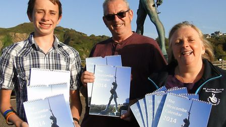 The Williams family from St James Dairy - David, David and June, with the new Ilfracombe Calendar.
