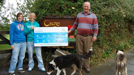 Pictured with the cheque (from left) are Cherry Tree Farm's Bex Harding, Emma Faulconbridge and Dave