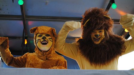 Alexander (left) and Francesca Cox on the South Molton Girls and Boys Brigade Lion King float. Pictu