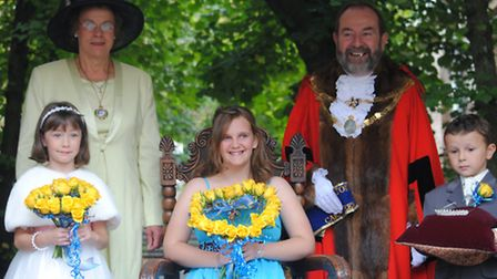 South Molton carnival queen Jess Watkinson, pictured with princess Morgan Hosker and page boy George