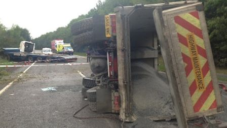 The lorry and its tipper which jack-knifed and caused the Link Road to be closed for four hours on W