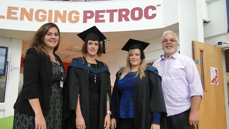 Erica Drew, higher education manager; Laura Kiff and Rhiannon Daleymount, students and Phil Pugsley,