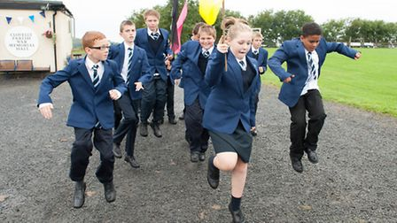 Students celebrate the official opening of the new Route 39 Academy at Clovelly.