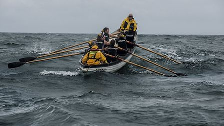 The Appledore rowers heading out to the Bar Buoy during training for their channel crossing. Pic: An
