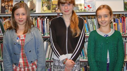 Junior winners of the B10 Writing Competition Lois Lock, Adele Collins and Molly Macleod at Barnstap