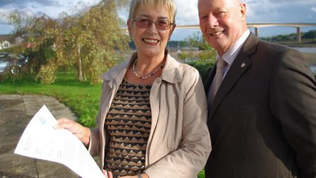 Councillors Jane Whittaker and Barry Parsons with their letter to Prince Harry.