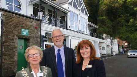 The Mayor Suzette Hibbert, Exmoor National Park chief executive Nigel Stone and chairman plus county