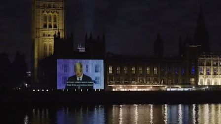 Led by Donkeys have projected a clip from Boris Johnson's 2018 speech to the DUP onto the Houses of