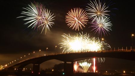 Fireworks soar above the riverfront during a display at Barnstaple Rugby Club. Picture Kelvin Parson