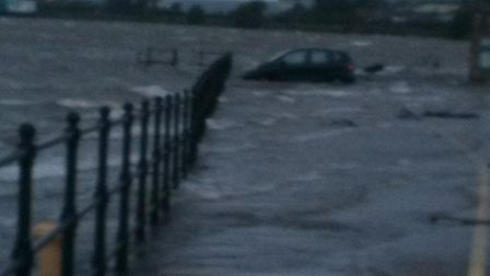 Gazette reader Lucy Sumner sent in this photo of a car marooned in a Barnstaple car park.