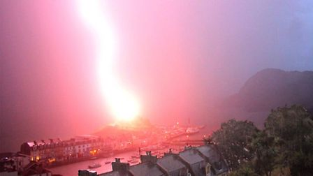 Jason Twist took this remarkable picture of the moment the lightening bolt struck the top of the cha