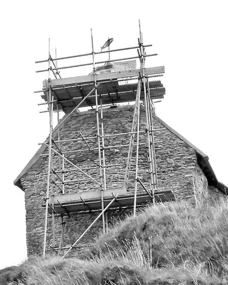 Repairs are underway at St Nicholas Chapel in Ilfracombe after it was struck by lightening in Septem