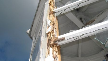 The damage to the chapel following the lightening strike.