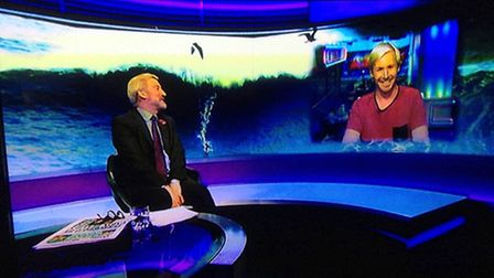 Surfer Andrew Cotton speaking to Jeremy Paxman on Newsnight on Wednesday.