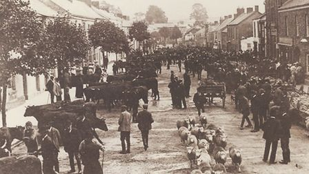 Outside the Lloyds Bank branch at East Street in South Molton circa 1900.