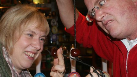 Landlady Esther Davies and Tim Webster of Barum Bewery gear up at the Reform Inn for a little practi