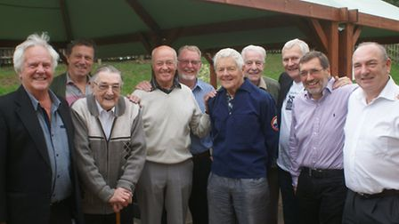 Back together for the reunion of North Devon's first surfers are Bill Gliddon, Barry Charlesworth, P