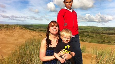 Natalie Curtis, with sons Bailey and Caleb at Braunton Burrows.