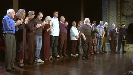 Joss Ackland (centre) and the all star cast take a standing ovation at the Old Vic after reading Kin