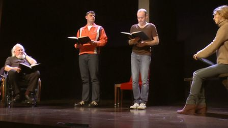 Joss Ackland (left) as part of the all star cast reading King Lear at the Old Vic in London to raise