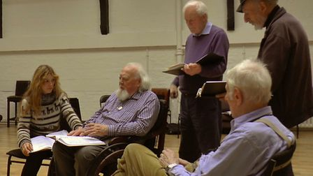 Joss Ackland and some of the King Lear cast rehearse at the Old Vic. Picture: Broadcast3D.tv