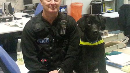 Plymouth specialist dog handler Martin LeBlanc with one of the two dogs used on the patrol