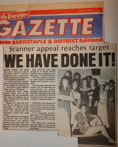 The North Devon Gazette story of February 1, 1990, which reported how the £500,000 Scanner Appeal ha