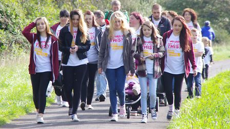 Katie Gammon and her friends set off along the Tarka Trail. Picture by AW Photographic.