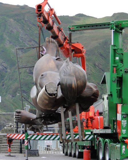 A year ago today, work was under way to hoist Verity into position on Ilfracombe Pier.