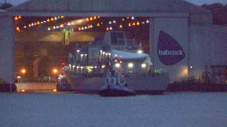 Le Samuel Beckett being launched from the shipyard on Sunday evening. Pic: Norman Hardaker.