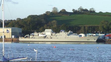 Le Samuel Beckett this morning (Mon) after being launched from the shipyard on Sunday evening. Pic: