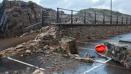 The damage in Ilfracombe this morning (Sun). Pic: Andrew Pettey