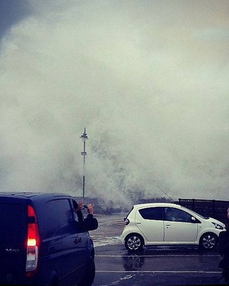 On Twitter, @_fabandy posted this action shot of a wave crashing into Ilfracombe
