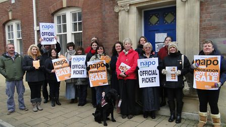 Barnstaple Probation Service workers on their picket line outside Kingsley House as part of a 24 hou