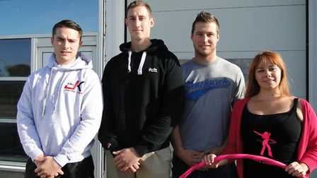 Personal trainer Jake King, owners James Fielder and Ben Taylor, and instructor Marcella Almond outs
