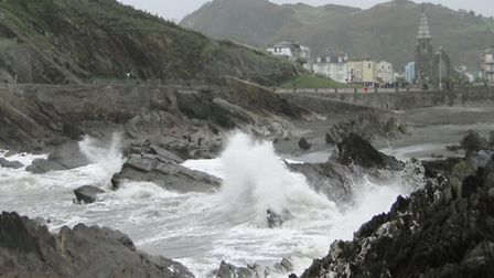 Waves surge in to Wildersmouth Beach in Ilfracombe on Sunday afternoon.