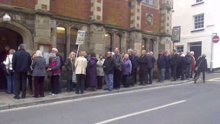 Protesters gathering at the planning committee meeting earlier this year where the marina plans were