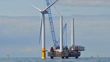 Construction of the Greater Gabbard offshore wind farm, off the coast of Suffolk. Picture: RWE