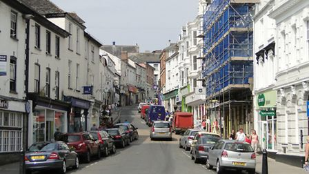 Police will be tackling parking issues around the town centre. Pictured: Bideford High Street.